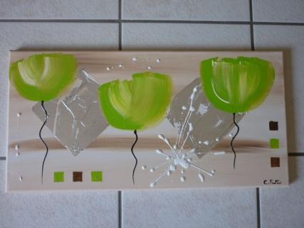 tableau peinture abstrait moderne contemporain vert enjoy life vendu. Black Bedroom Furniture Sets. Home Design Ideas
