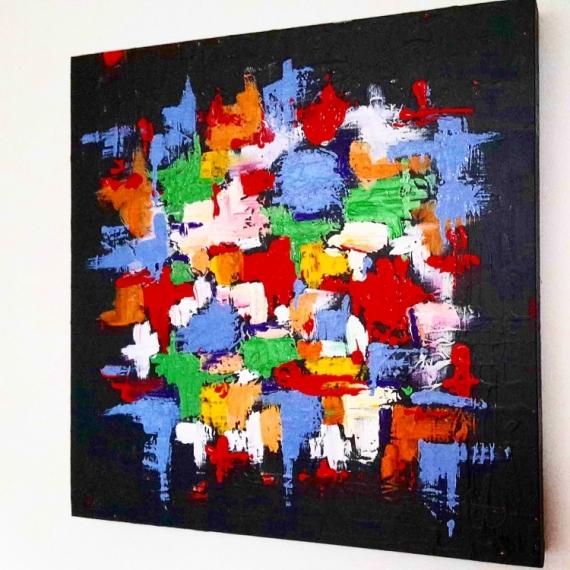 Tableau peinture abstrait moderne peinture toiles tableau abstrait puzzles - Tableau peinture acrylique moderne ...