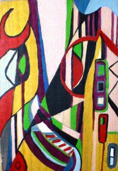Tableau peinture abstrait multicolore graphique imaginaire for Peinture graphique