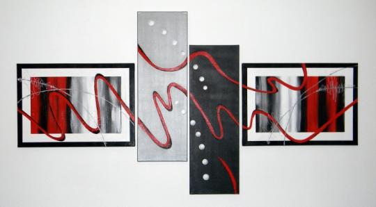 Tableau peinture abstrait quadriptyque noir gris abstrait - Tableau rouge noir gris moderne ...