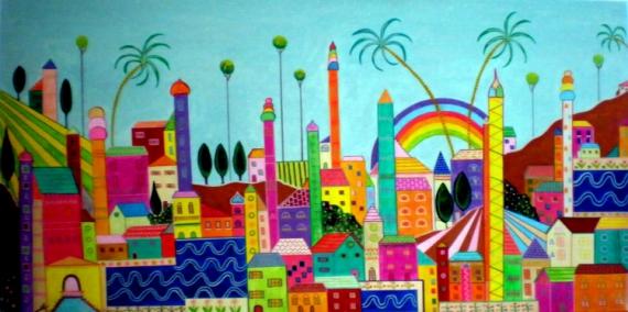 Tableau peinture achat tableau naf village couleurs for Achat tableau