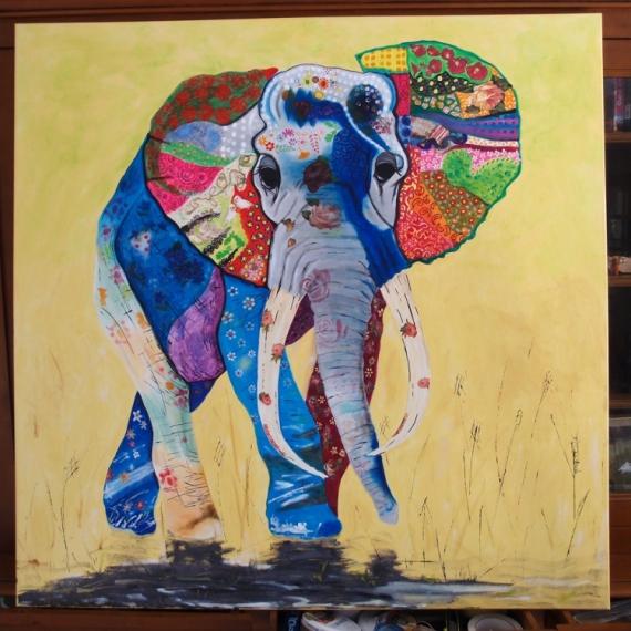 Connu TABLEAU PEINTURE afrique éléphant couleur sauvage - Shadé KV09