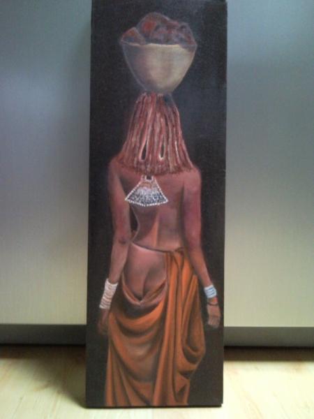 Célèbre TABLEAU PEINTURE afrique femme noire champs - himba de dos RN46