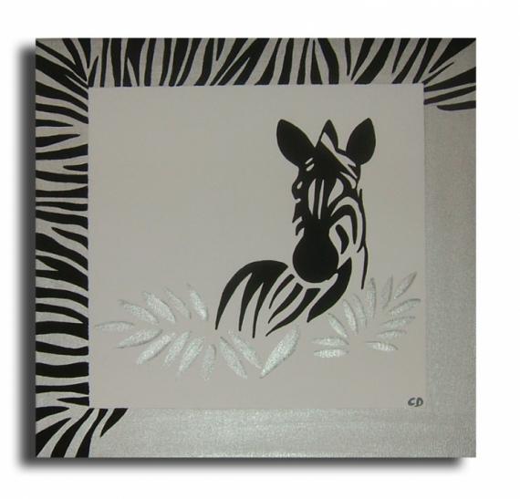tableau peinture afrique zebre noir blanc tableau le zbre. Black Bedroom Furniture Sets. Home Design Ideas