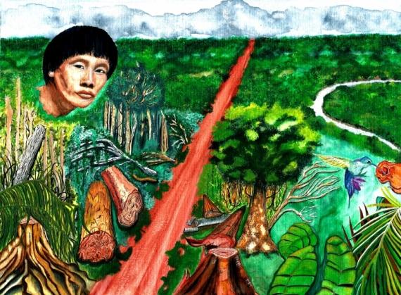 TABLEAU PEINTURE Amazonie Amrique du sud Indien survie - LAmazonie en ...