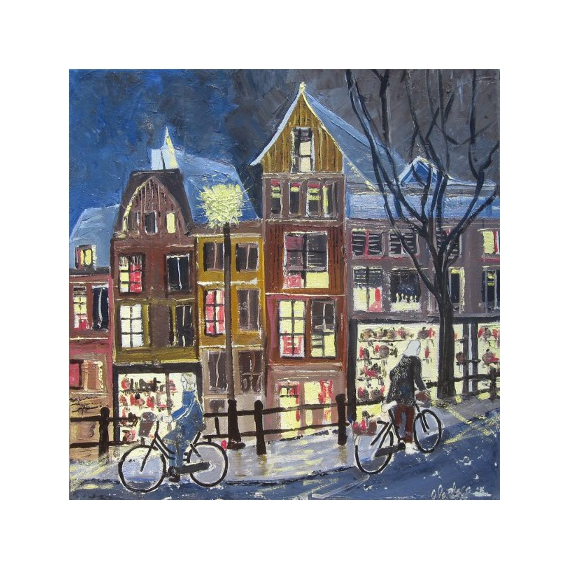 tableau peinture amsterdam de nuit tableau holande cade peinture achat noel amsterdam de nuit. Black Bedroom Furniture Sets. Home Design Ideas
