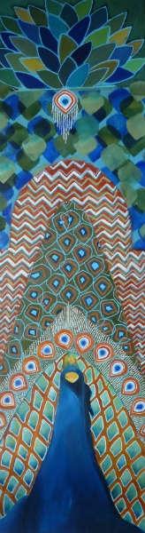 tableau peinture animal paon bleu vert le paon dans son palais. Black Bedroom Furniture Sets. Home Design Ideas