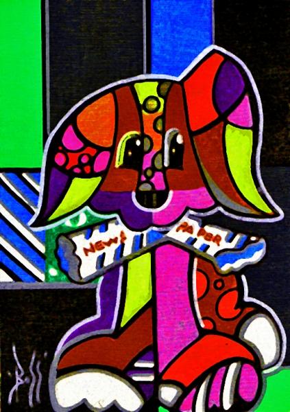 Extrêmement TABLEAU PEINTURE animaux chiens pop art - LOOK VQ97