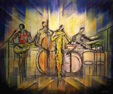 tableau peinture antibes sud orchestre jazz jazz. Black Bedroom Furniture Sets. Home Design Ideas