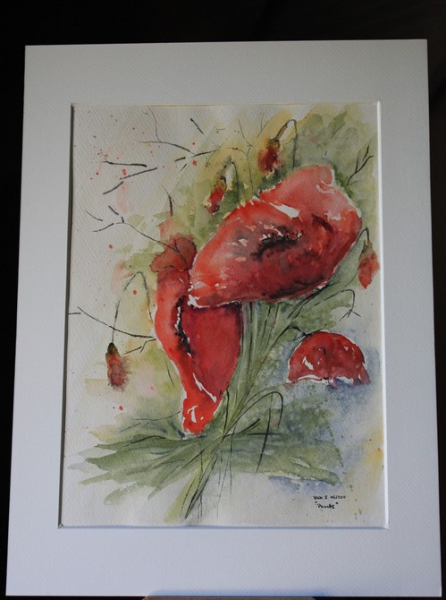 Tableau peinture aquarelle fleurs rouge coquelicot pavot for Tableau de coquelicot en peinture