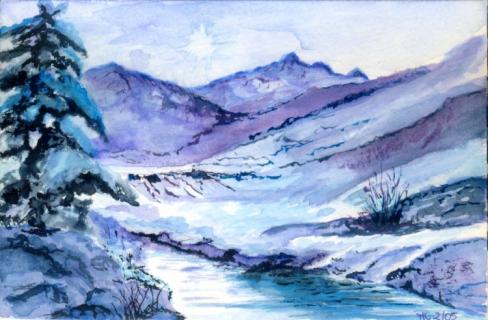 tableau peinture aquarelle pi ce unique originale qualit paysages aquarelle paysage de neige. Black Bedroom Furniture Sets. Home Design Ideas