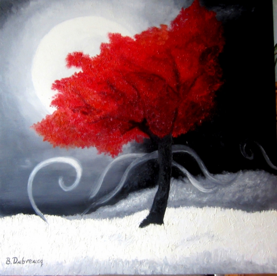 tableau peinture arbre rouge contemporain moderne l 39 arbre rouge. Black Bedroom Furniture Sets. Home Design Ideas