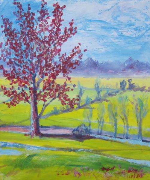 Tableau peinture arbre rouge tableau deco tableau arbre printemps fleur arbre rouge - Arbre fleurs rouges printemps ...