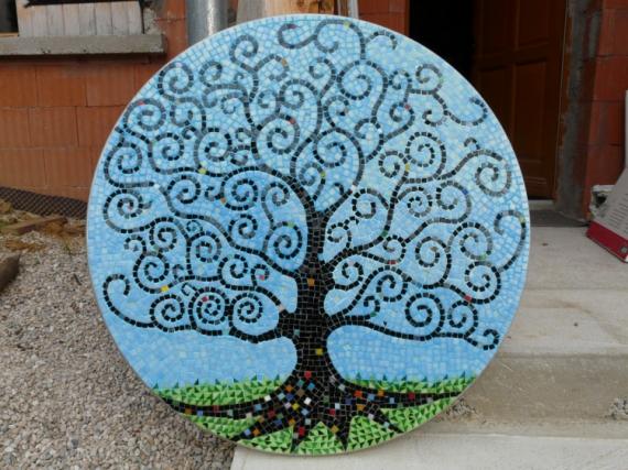 Tableau peinture arbre spirale mosaque arbre fris for Peinture mosaique