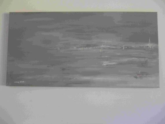 Tableau peinture arcachon marine abstrait gris reflets marins gris - Peinture tableau gris ...
