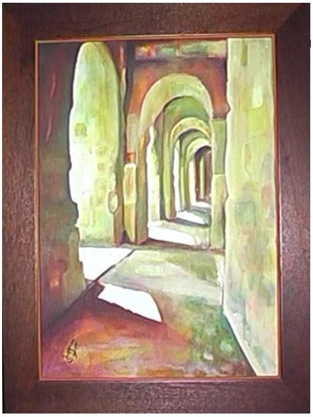 tableau archades tunisie architecture toile acrylique profondeur p