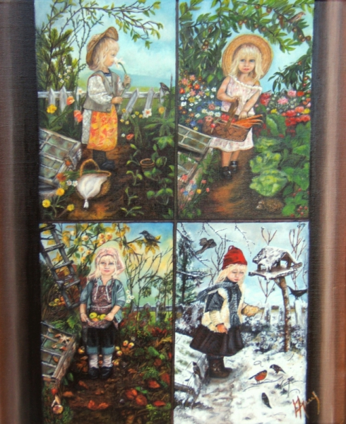 Connu TABLEAU PEINTURE art, artiste, peintu - Les 4 saisons EW54