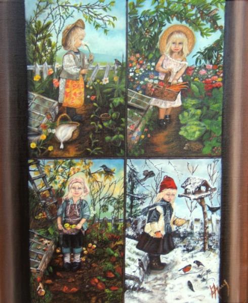 Tableau peinture art artiste peintu les 4 saisons for Le jardin des 4 saisons pusignan