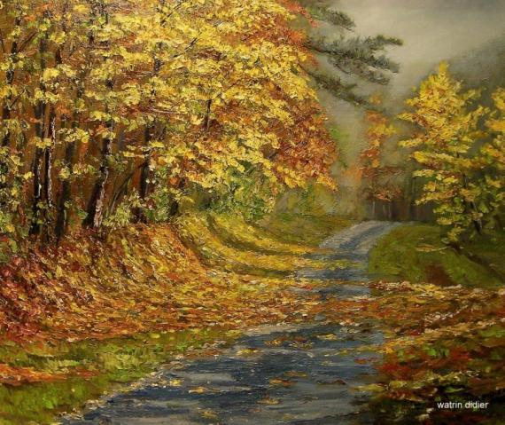 tableau peinture automne paysage chemin chemin aux couleurs d 39 automne. Black Bedroom Furniture Sets. Home Design Ideas