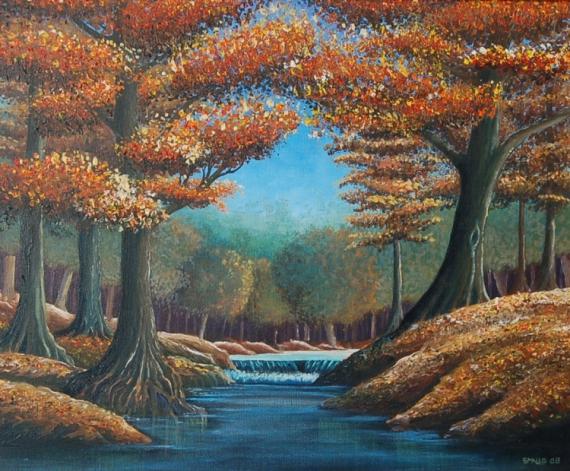 Tableau peinture automne sous bois riviere animaux la biche - Acheter tableau peinture ...
