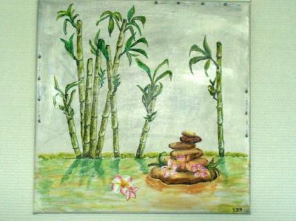 tableau peinture bambous fleur ruisseau zen bambous et les fleurs grangipanier. Black Bedroom Furniture Sets. Home Design Ideas