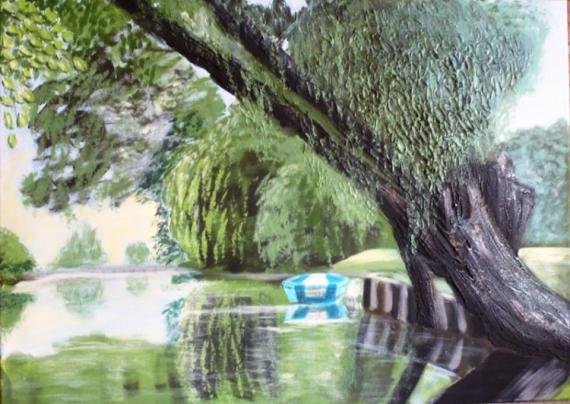 tableau peinture barque eau arbre amiens les hortillonages d 39 amiens. Black Bedroom Furniture Sets. Home Design Ideas