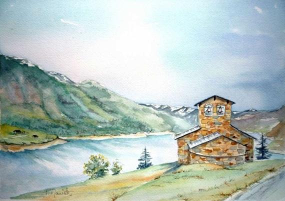tableau peinture barrage roselend paysages de savoie