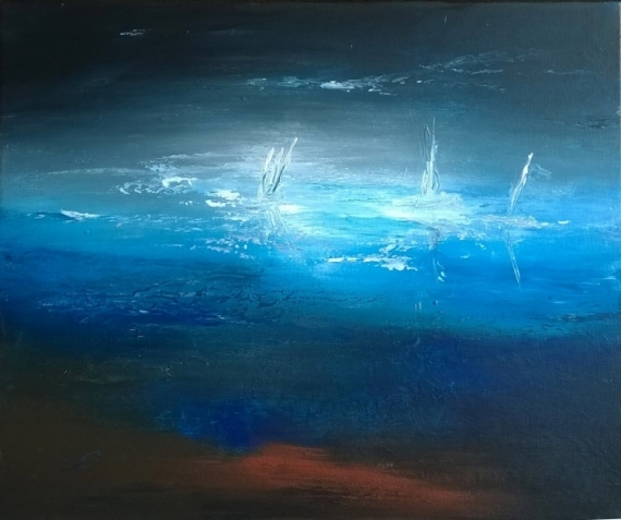 Tableau peinture bateau abstrait marine nuit la lune brille for Peinture bleu nuit