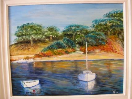 tableau peinture bateau mer au fil de l 39 eau. Black Bedroom Furniture Sets. Home Design Ideas
