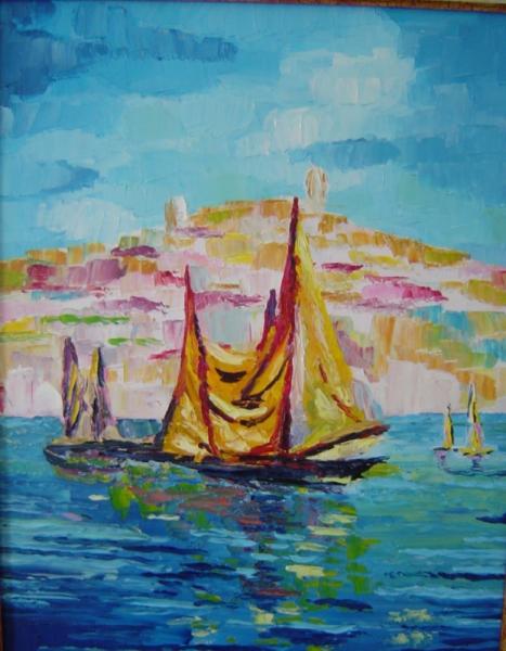 Tableau peinture bteau port huile au couteau peinture le port - Peinture au couteau huile ...