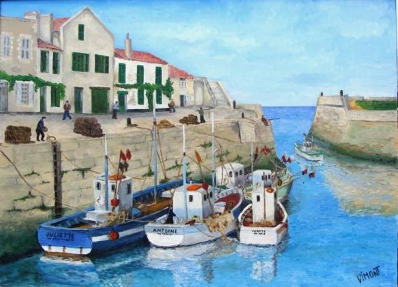 tableau peinture bateaux de p che saint martin l 39 lot le port de saint martin. Black Bedroom Furniture Sets. Home Design Ideas