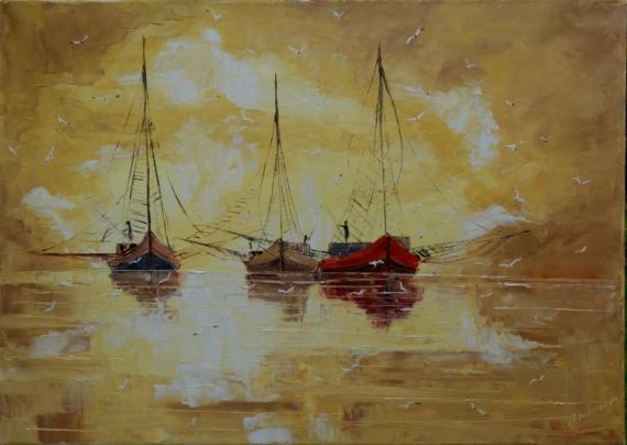 tableau peinture bateaux mer impressionime paysage marin bateaux. Black Bedroom Furniture Sets. Home Design Ideas