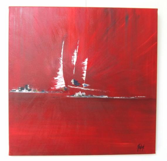 tableau peinture bateaux rouge abstrait contemporain trio de voiles. Black Bedroom Furniture Sets. Home Design Ideas