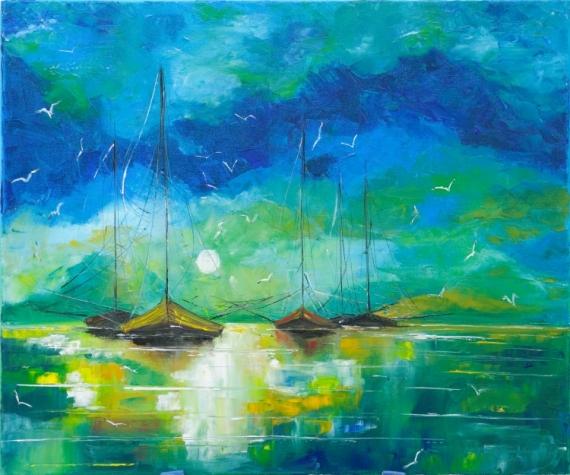 tableau peinture bateaux seascape reflets mer bateaux. Black Bedroom Furniture Sets. Home Design Ideas