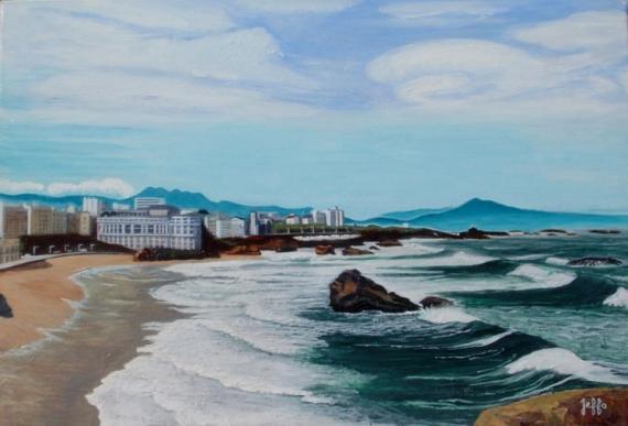 tableau peinture biarritz ocan agit pays basque vue du. Black Bedroom Furniture Sets. Home Design Ideas