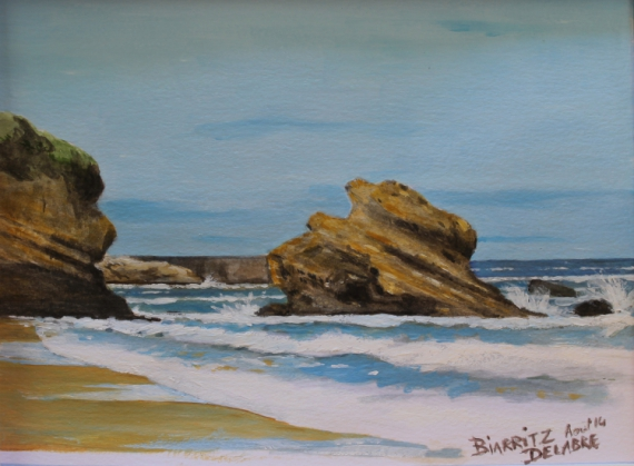 tableau peinture biarritz vague oc an plage rochers de biarritz. Black Bedroom Furniture Sets. Home Design Ideas