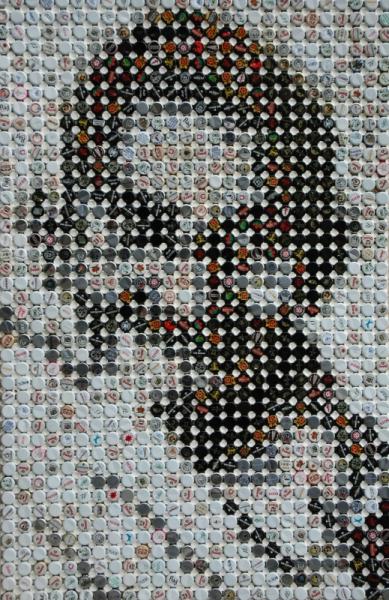Super TABLEAU PEINTURE bière art-brut mosaïque recyclage - gandhi NE96