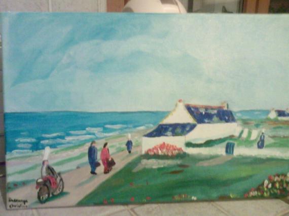 tableau peinture bigoudne bretagne paysage mer paysage breton. Black Bedroom Furniture Sets. Home Design Ideas
