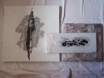 tableau peinture blanc gris moderne tryptique tryptique argent. Black Bedroom Furniture Sets. Home Design Ideas