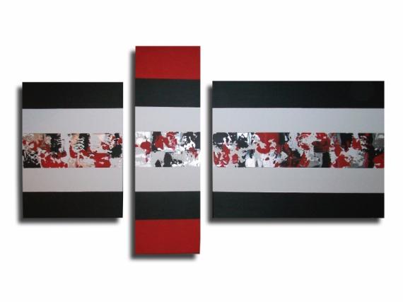 Tableau peinture blanc gris rouge noir tableau triptyque - Tableau noir blanc gris ...