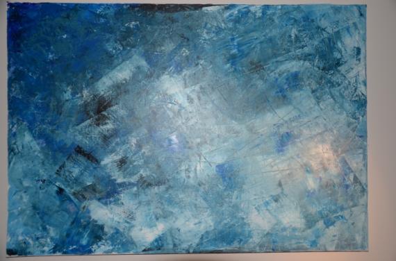 Tableau peinture bleu abstrait bleu azur - Tableau bleu turquoise ...