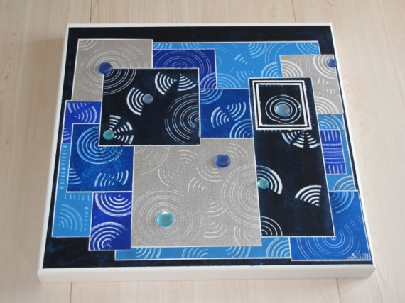 tableau peinture bleu blanc perle gris tableau abstrait les bleus. Black Bedroom Furniture Sets. Home Design Ideas
