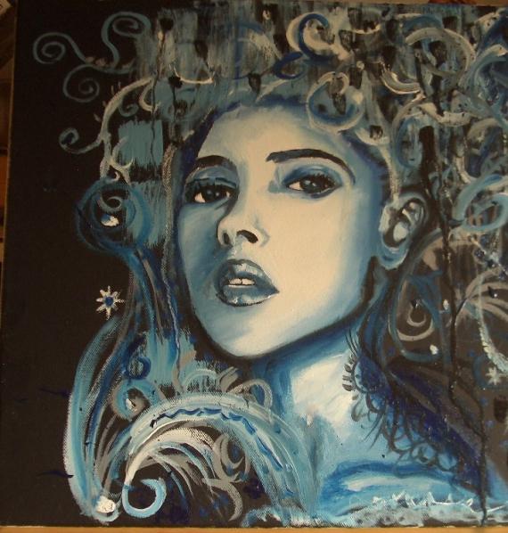 Sehr TABLEAU PEINTURE bleu femme portrait - femme bleue TH77