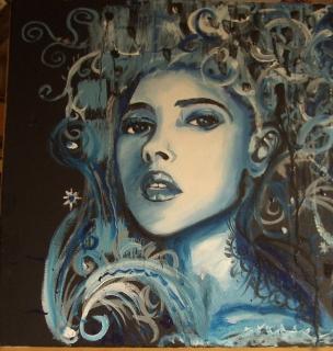 tableau peinture bleu femme portrait femme bleue. Black Bedroom Furniture Sets. Home Design Ideas