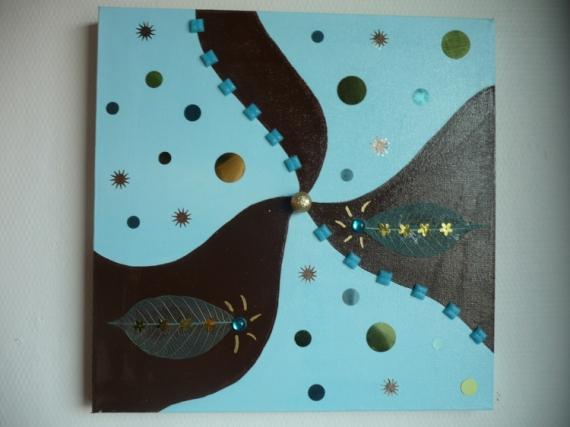 Tableau peinture bleu turquoise chocolat dor pluie d - Tableau bleu turquoise ...