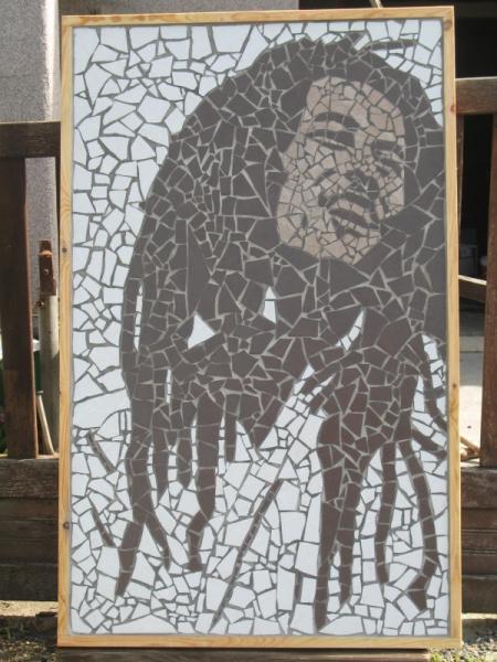 Tableau peinture bob marley mosaique tableau mosaique bob marley - Modele de creation en mosaique ...