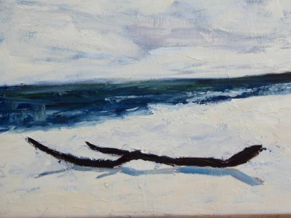 Tableau peinture bois flott plage mer eau bois flott - Tableaux mer et plage ...