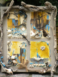 Tableau peinture bois flott r cup art peinture mixte for Tableau sur bois flotte