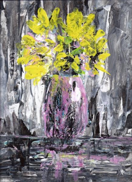 Extrêmement TABLEAU PEINTURE bouquet abstrait fleurs jaune - Bouquet jaune QB91