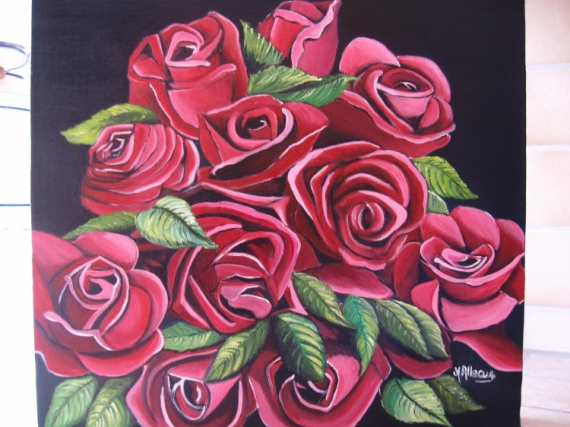 Connu TABLEAU PEINTURE bouquet roses rouges - bouquet de roses GR81